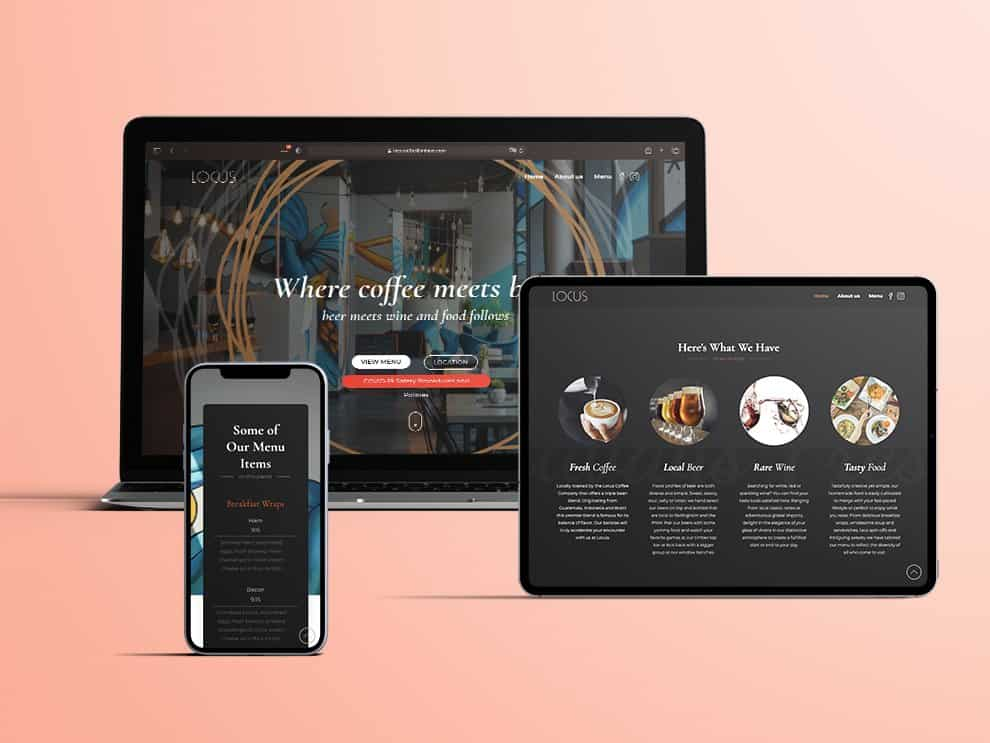 Locus website, tablet and mobile showcase