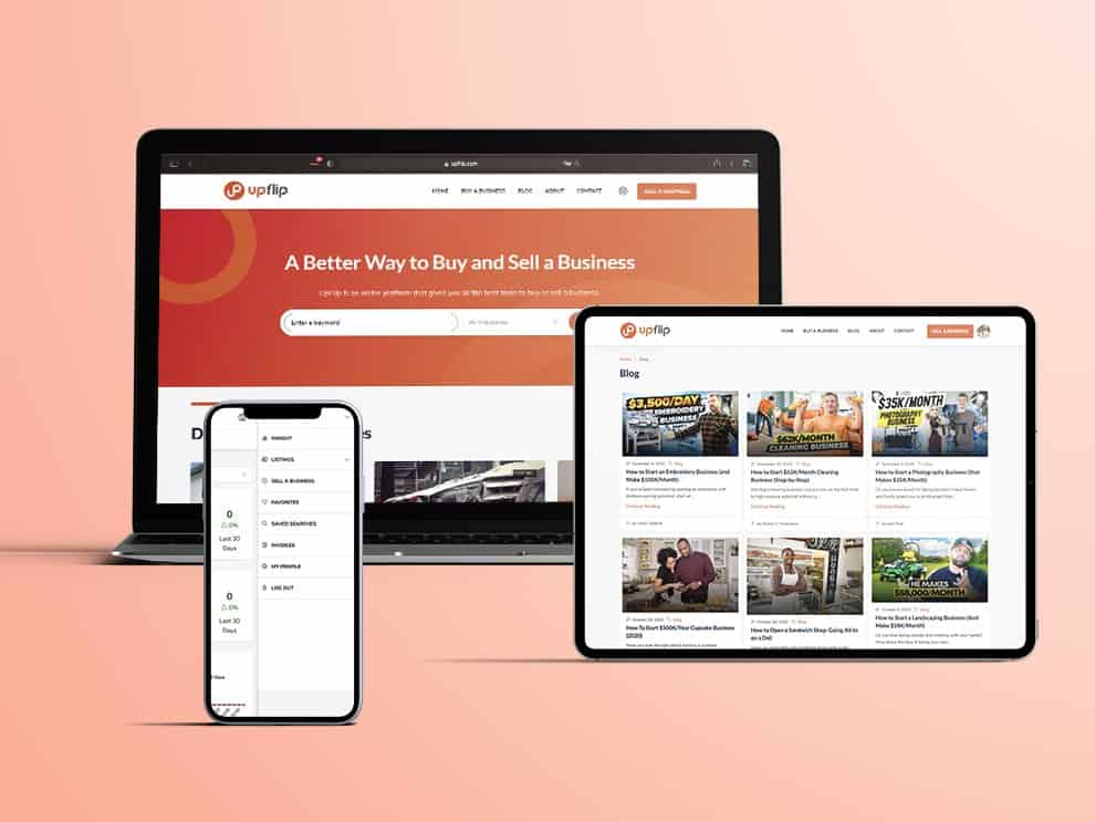 UpFlip website, tablet and mobile showcase