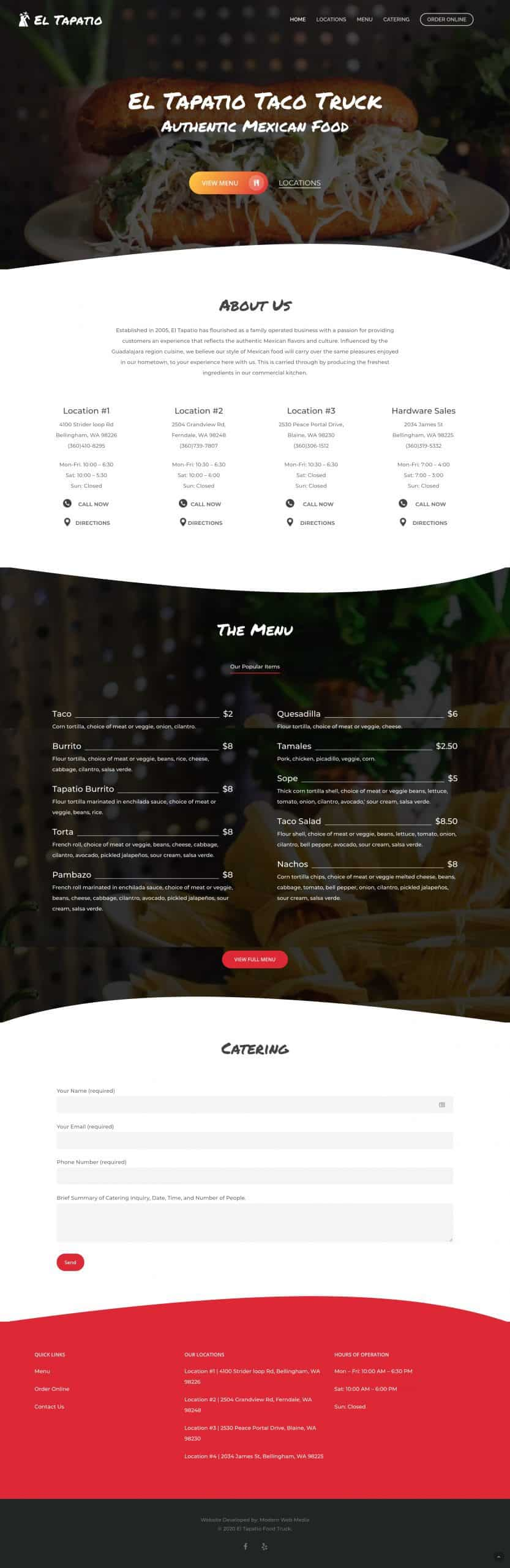 El Tapatio Full Website Screenshot