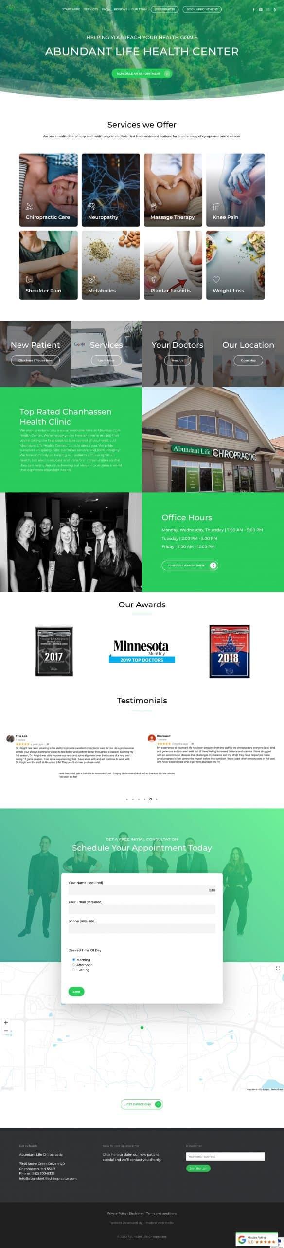 Full page screenshot of abundant life health center website